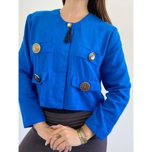 CUE Vintage Blue Button Blazer Jacket Size 12-14